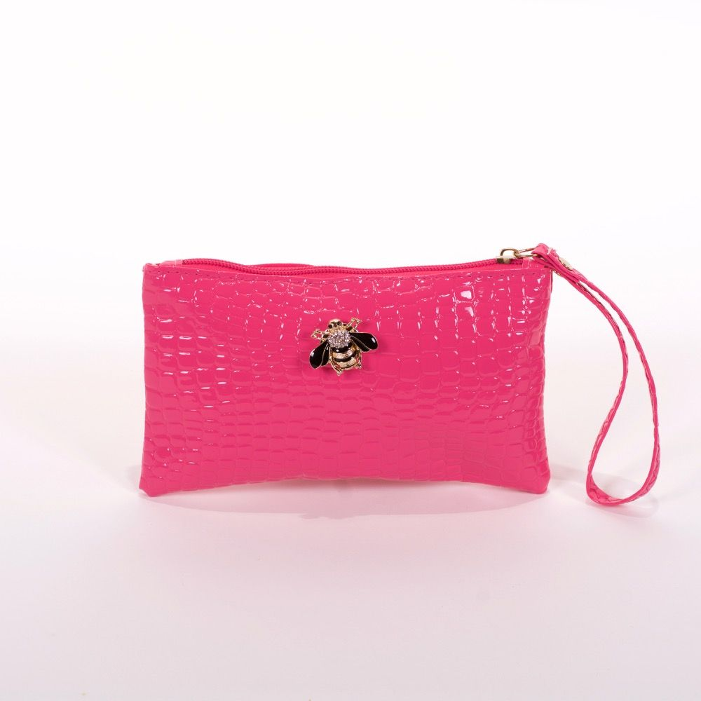 Bolso de mano rosa abeja