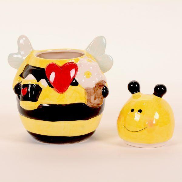 Tarro ceramica abeja abierto