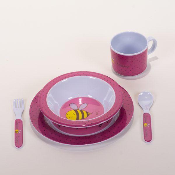 Vajilla infantil rosa abejas