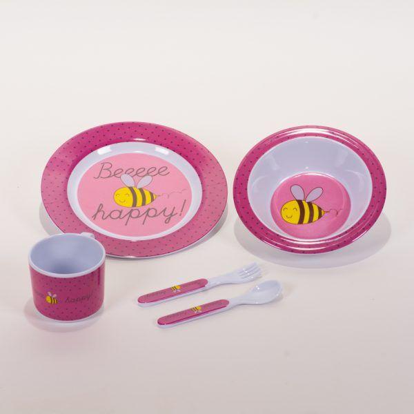 Vajilla infantil rosa abejas set